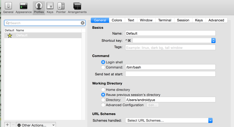 Mac Iterm2 set Working Directory